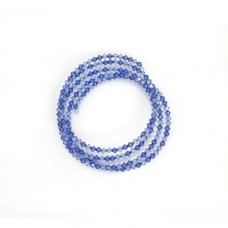 Spiralarmband Doppelkegel Glasschliffperlen Blau Handgefertigt Handgearbeitet