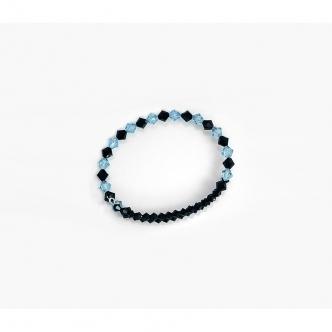 Blue Black Bicone Oval Memory Wire Bracelet Handmade