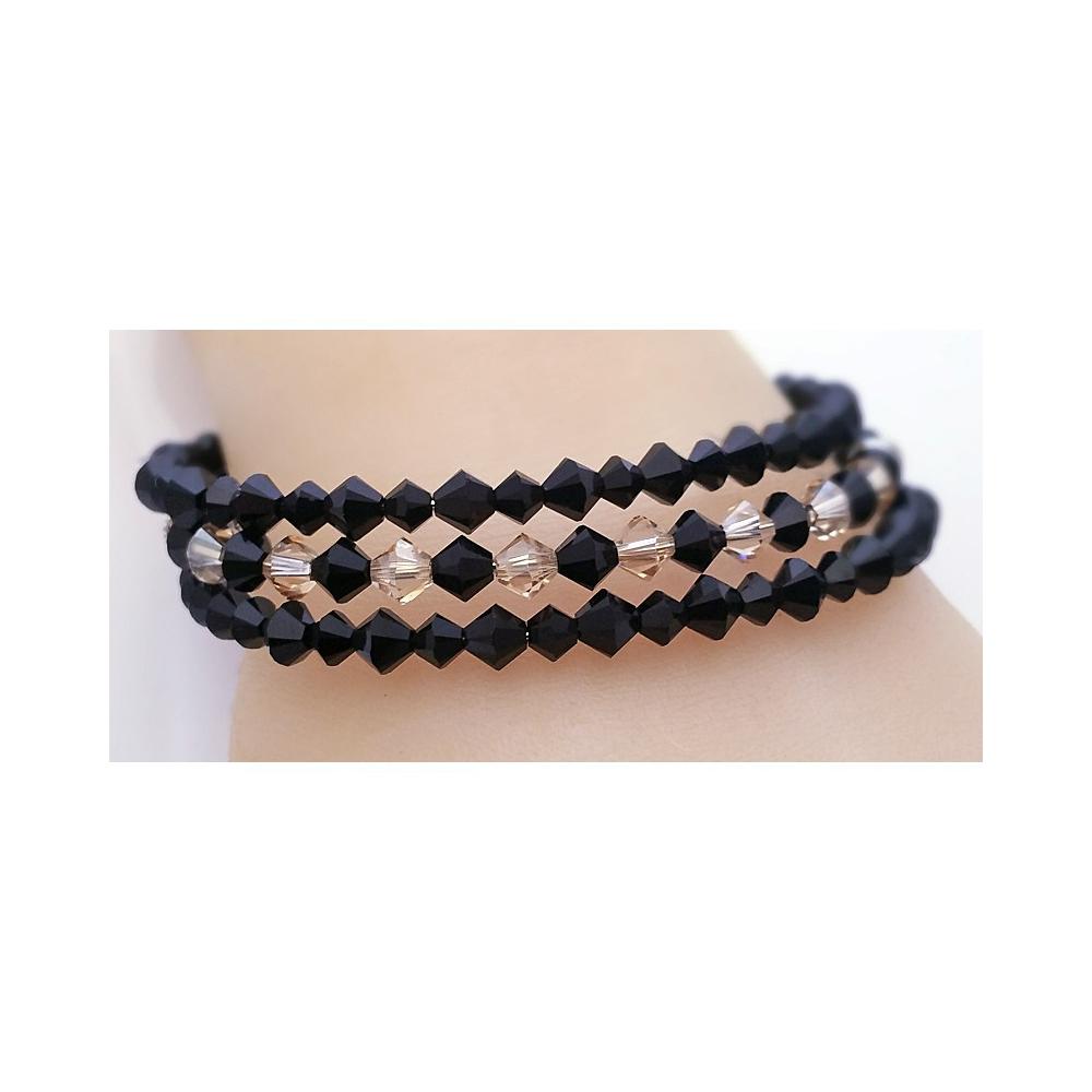 Bracelet Bicones Black Gold Coloured Memory Wire Handmade