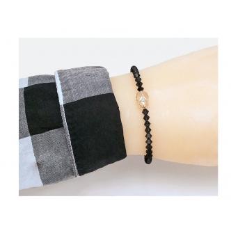 Skarabäus Doppelkegel Glasschliffperlen Schwarz Spiralarmband Handgefertigt