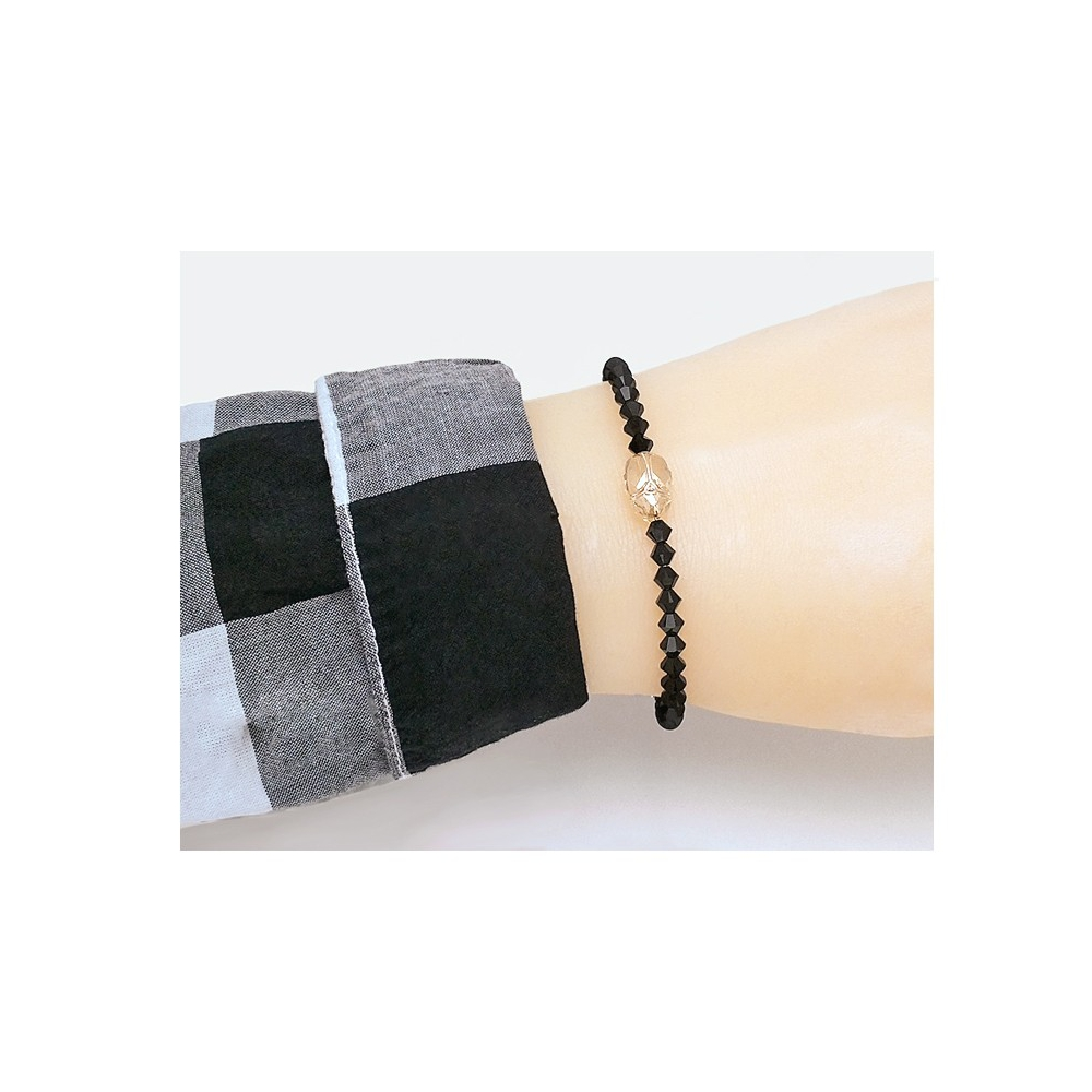 Scarab Bicones Black Bracelet Handmade