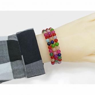 Jade Bracelet Mulitcolour Handmade Memory Wire