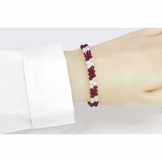 Bicone Memory Wire Bracelet Red White Handmade