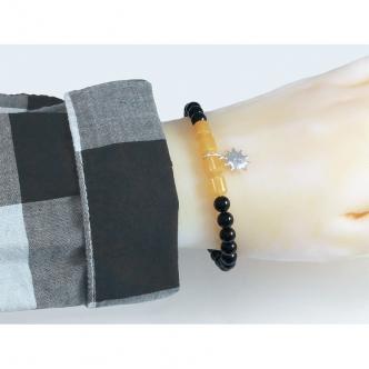 Armband Spiralarmband Edelsteine Achat Jade Schwarz Gelb 925 Sterling Silber Anhänger Handgefertigt Handarbeit Memory Wire