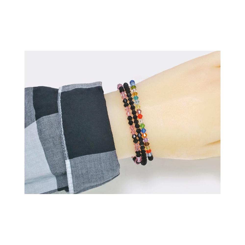 Memory Wire Bracelet Mulitcolour Black Handmade