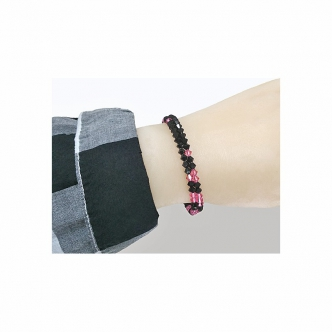 Bracelet Memory Wire Black Pink Bicones Glass Handmade