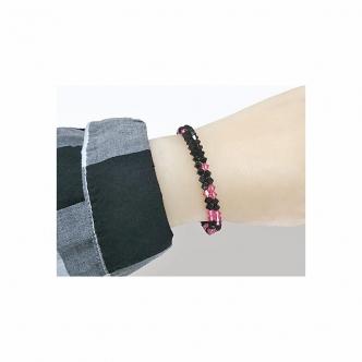 Spiralarmband Armband Glasschliffperlen Schwarz Pink Handgefertigt Handgearbeitet Memory Wire