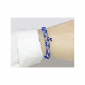 Spiralarmband Glasschliffperlen Blau Doppelkegel Handgefertigt Handgearbeitet