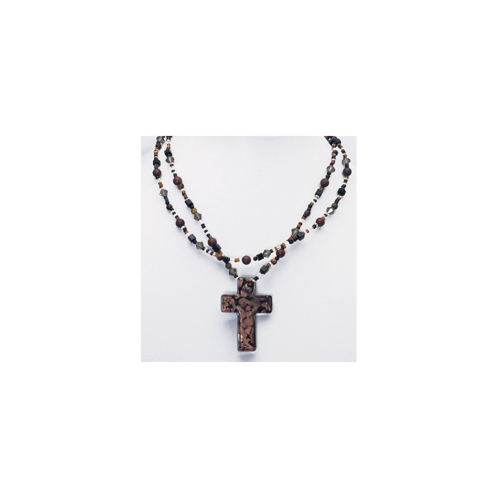 Cross Bead Necklace Brown Golden Coloured Handmade