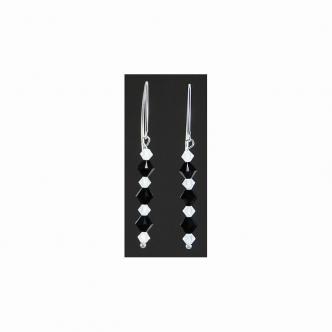 Ohrringe Ohrhänger Glas Kristall Doppelkegel Schwarz Weiß Handgefertigt Handgearbeitet Sterling Silber