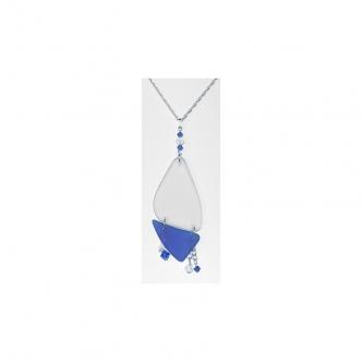 Seeglas Glas Sterling Silber Kette Handgerfertigt Handgearbeitet