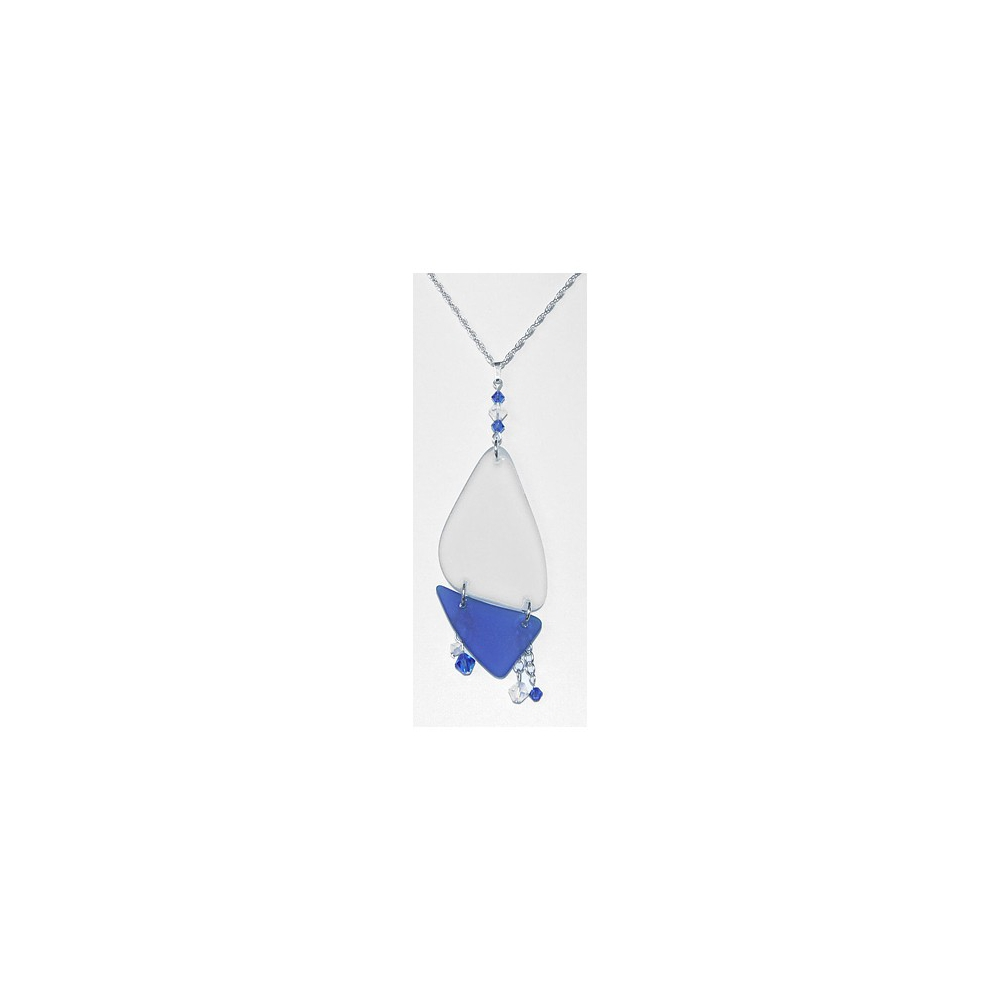 Tumbled Glass Sea Glass Blue White Necklace Sterling Silver Handmade