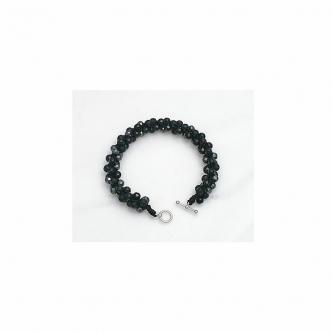 Agate Black Hematite Crochet Bracelet Sterling Silver Handmade