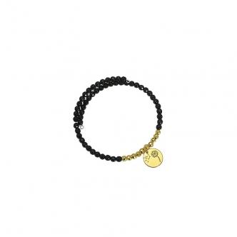 Bracelet Agate Black Gemstone Sterling Silver 925 Gold Plated Charm Beads Dandelion Handmade