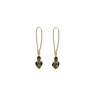 Ohrringe Groß 925 Sterling Silber Vergoldet Rauchquarz Edelsteine Geschliffen Handgemacht Handgearbeitet