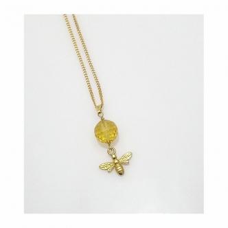 Biene Tier Citrin Edelstein 925 Sterling Silber Vergoldet Kette Handgefertigt Handgearbeitet Handgemacht