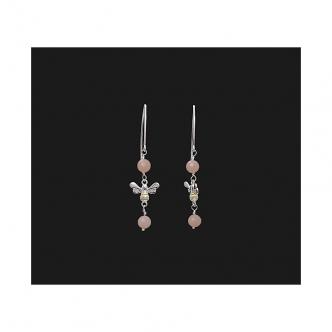 925 Sterling Silver Bee Gold Bicolour Pink Opal Gemstone Earrings Handmade