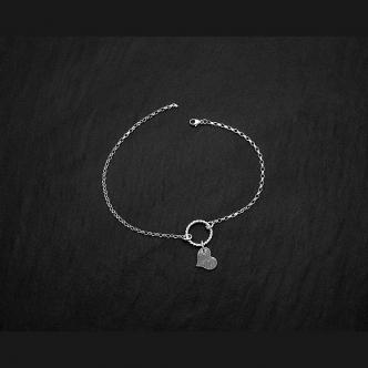 Fußkette Fußkettchen Sterling Silber 950 925 Herz Handgeschmiedet Handgearbeiet