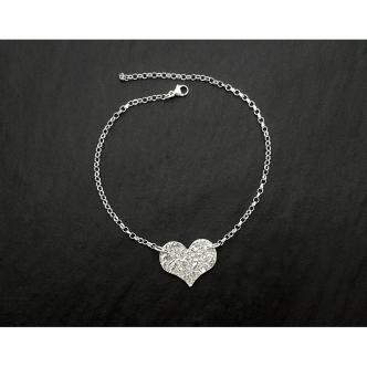 Fußkettchen Fußkette Sterling Silber 925 950 Herz Geschmiedet Goldschmiede Handgearbeitet Handgefertigt