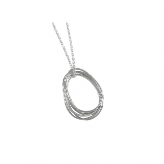Sterling Silver Drop Pendant Necklace Handmade Hammered 935 925