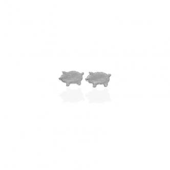 Ohrringe, Ohrstecker, Tiere, Schwein, Sterling Silber 950 925 Handgemacht Geschmiedet Goldschmied Handarbeit Metal Clay