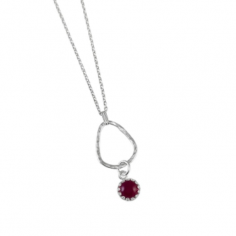 Sterling Silver 935 Drop Pendant Gemstone Necklace Sapphire Ruby Spinel Handmade Hammered