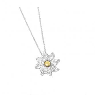 Sterlin Fine Silver Sun Pendant Gemstone Cabochon Citrine Yellow Handmade Necklace Metal Clay