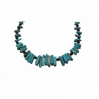 Turqouise Teeth Dark Blue Jade Gemstone Necklace Handmade