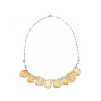 Citrine and Quartz Gemstone Necklace Handmade Sterling Silver 925 Nuggets