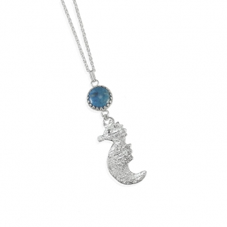 Seahorse Animal Gemstone Denim Lapis Pendant Necklace Sterling Silver 950 925 Handmade Metal Clay