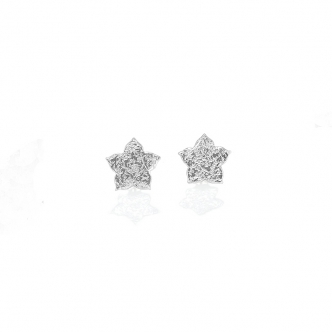 Sterling Silver Earrings Studs Flower Small Handmade Hammered 925 Fine Silver