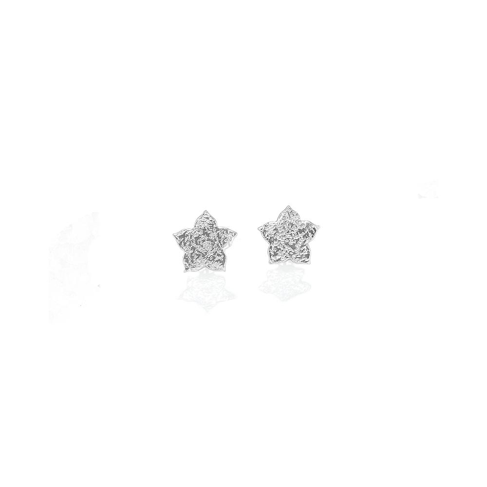 Sterling Silver Earrings Studs Flower Small Handmade Hammered 925 Fine Silver