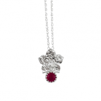 Sterling Silver 925 950 Flower Gemstone Ruby Red Cabochon Pendant Necklace Handmade