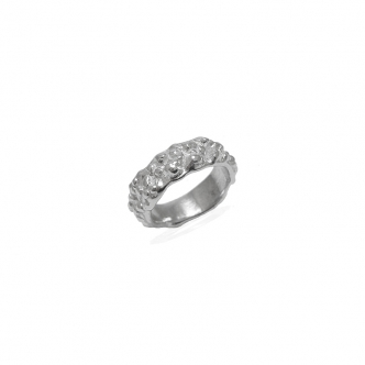 Sterling Silver 950 925 Ring Bubbles Strong Texture Handmade Wedding