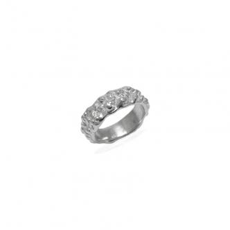Sterling Silber Ring 925 950 Außergewöhnlich Goldschmiede Handarbeit Handgefertigt Metal Clay Einzigartig Oberflächenstruktur