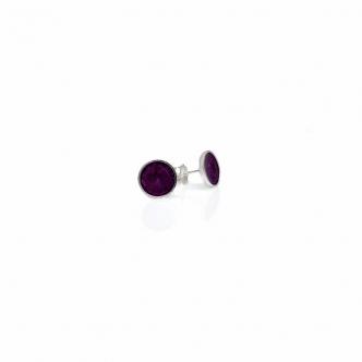 Sterling Silver Earrings Studs Purple Resin Handmade