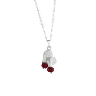 Heart Pendant Ruby Gemstone Necklace Sterling Silver 925 950 Handmade
