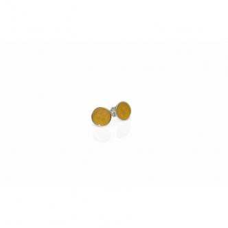 925 Sterling Silver Earrings Studs Resin Gold coloured Resin Handmade
