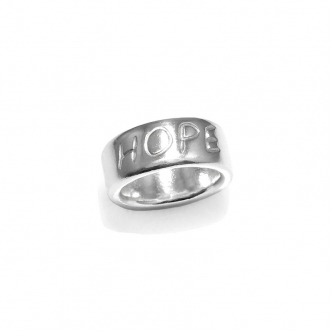 Sterling Fine Silver Ring HOPE Wort Handwriting Solid Metal Clay Ring Handmade 999 925