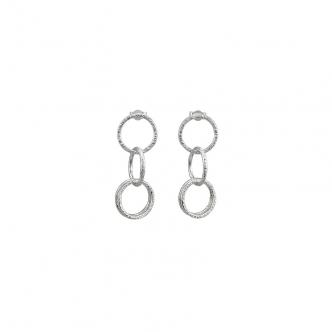 Feinsilber Sterling Silber Ohrringe Gehämmert Geschmiedet Ringe Handgertigt Oxidiert