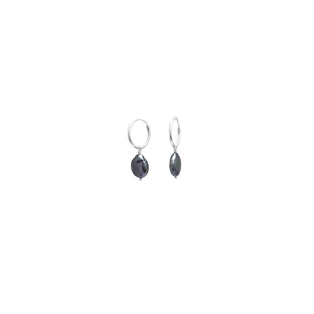 Creole Sterling Silver Earrings Pearls Cultured Handmade Dark