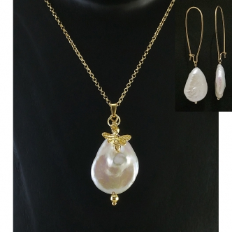 Freshwater Big Pear Pearl Necklace and Earring Set Handmade Sterling Silver Gold Plated 925 Statement