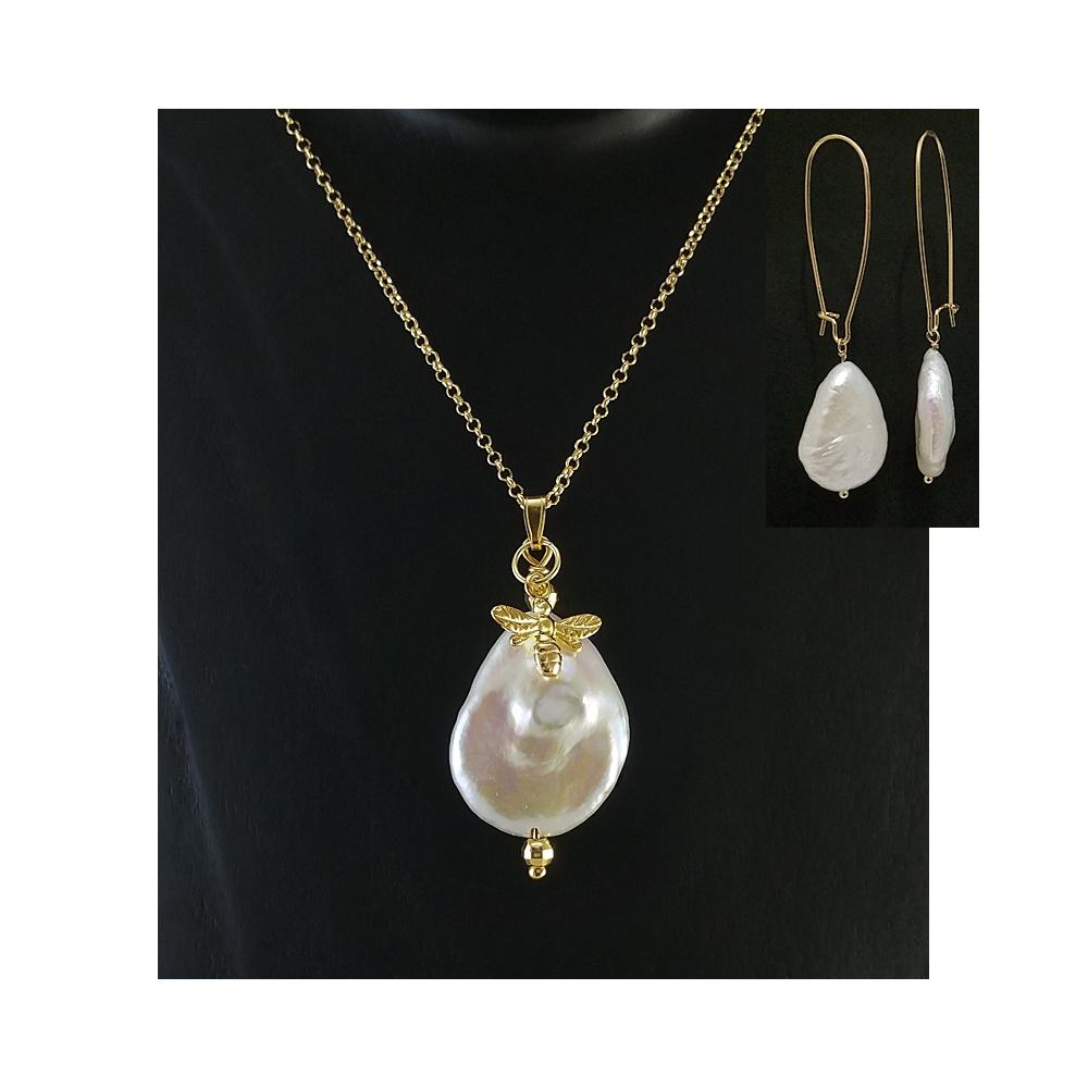 Schmuckset Große Frischwasser Perlen Set Off White Sterling Silber Vergoldet 925 Handgefertigt