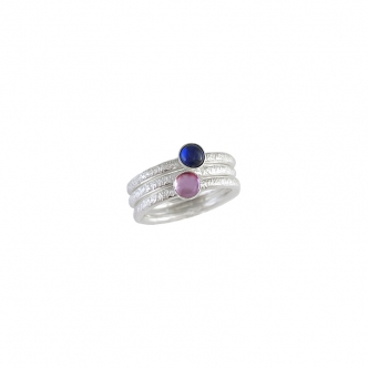 Ring Set Sapphire Sterling Silver 3 Rings Hammered Handmade Pink Blue