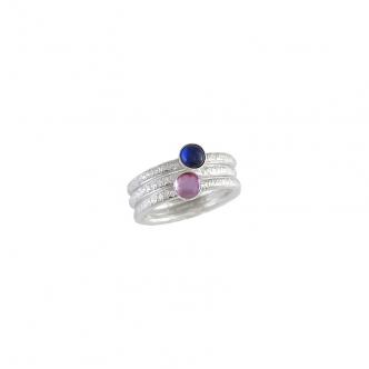 Sterling Silber 935 925 Ring Saphir Safir Pink Blau Rosa Cabochon Gehämmert Handgefertigt Geschmiedet 3 Ringe