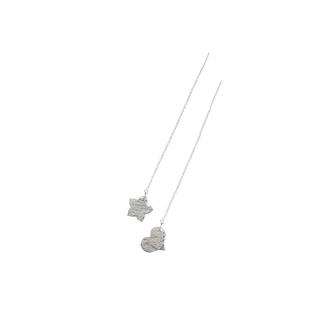 Earrings Sterling Silver 925 Pull Through 950 Long Handmade Heart Flower Hammred