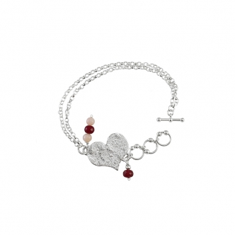 Fine Sterling Silver 999 925 Heart Bracelet Statement Big Gemstones Red Handmade Metal Clay