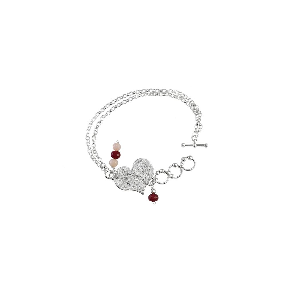 Fine Sterling Silver 999 925 Heart Bracelet Statement Big Gemstones Red Handmade Metal Clay