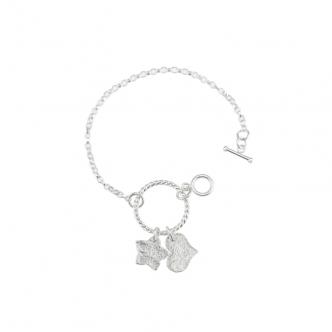Sterling Silver Heart Flower 950 925 935 Bracelet Handmade