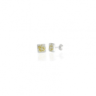 Sterling Fine Silver Small Square Studs Earrings Gold Keum Boo Oxidised Handmade Metal Clay Bicolour